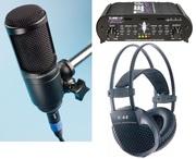 Микрофон audio - technica,  преамп и наушники